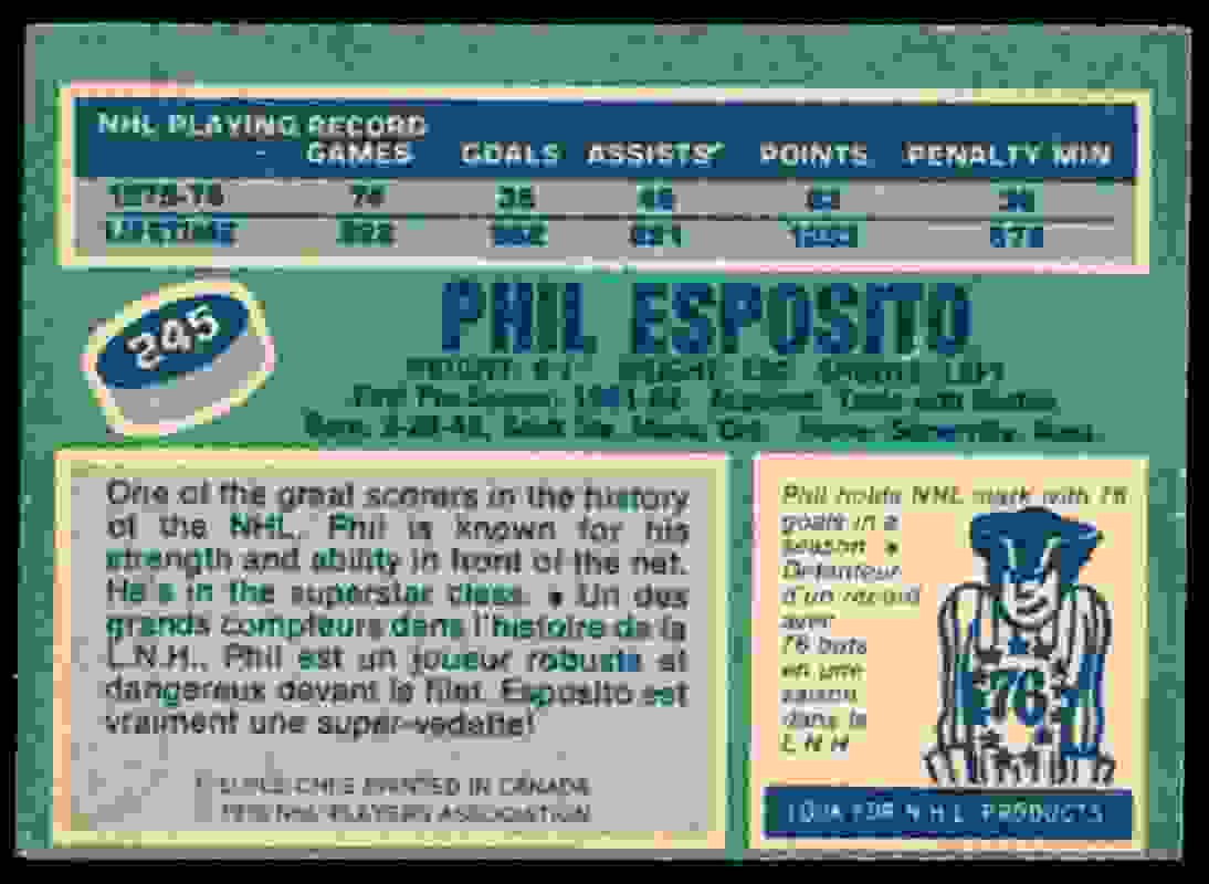 1976-77 O-Pee-Chee * Phil Esposito #245 card back image