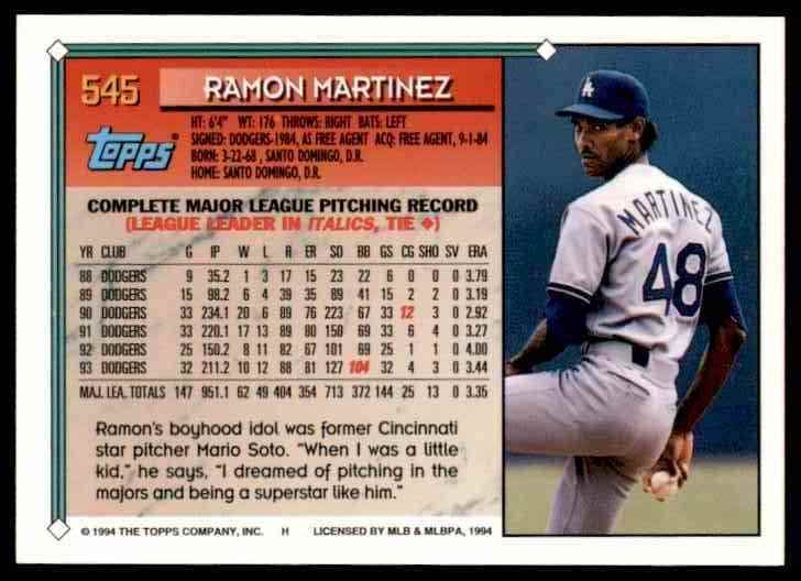 1994 Topps Ramon Martinez #545 card back image