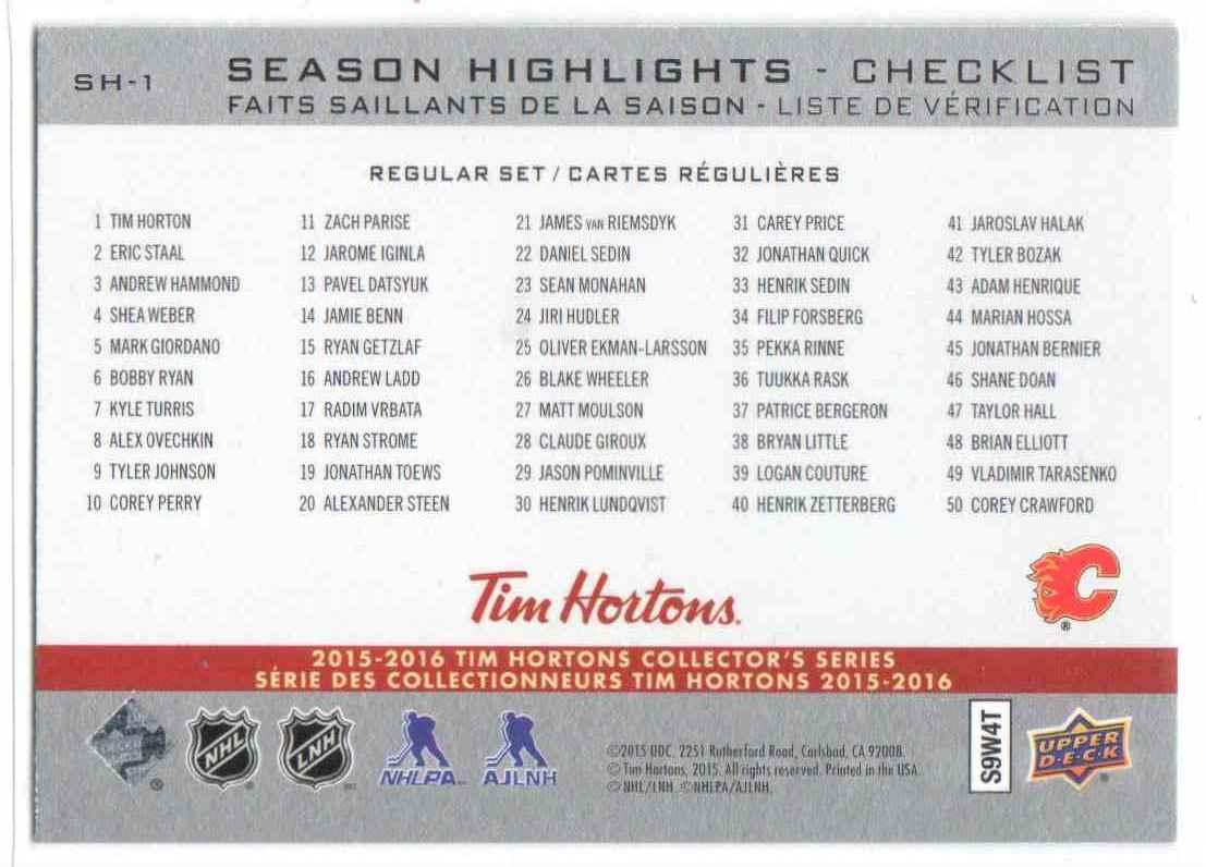 2015-16 Upper Deck Tim Horton Season Highlights Johnny Gaudreau #SH-1 card back image