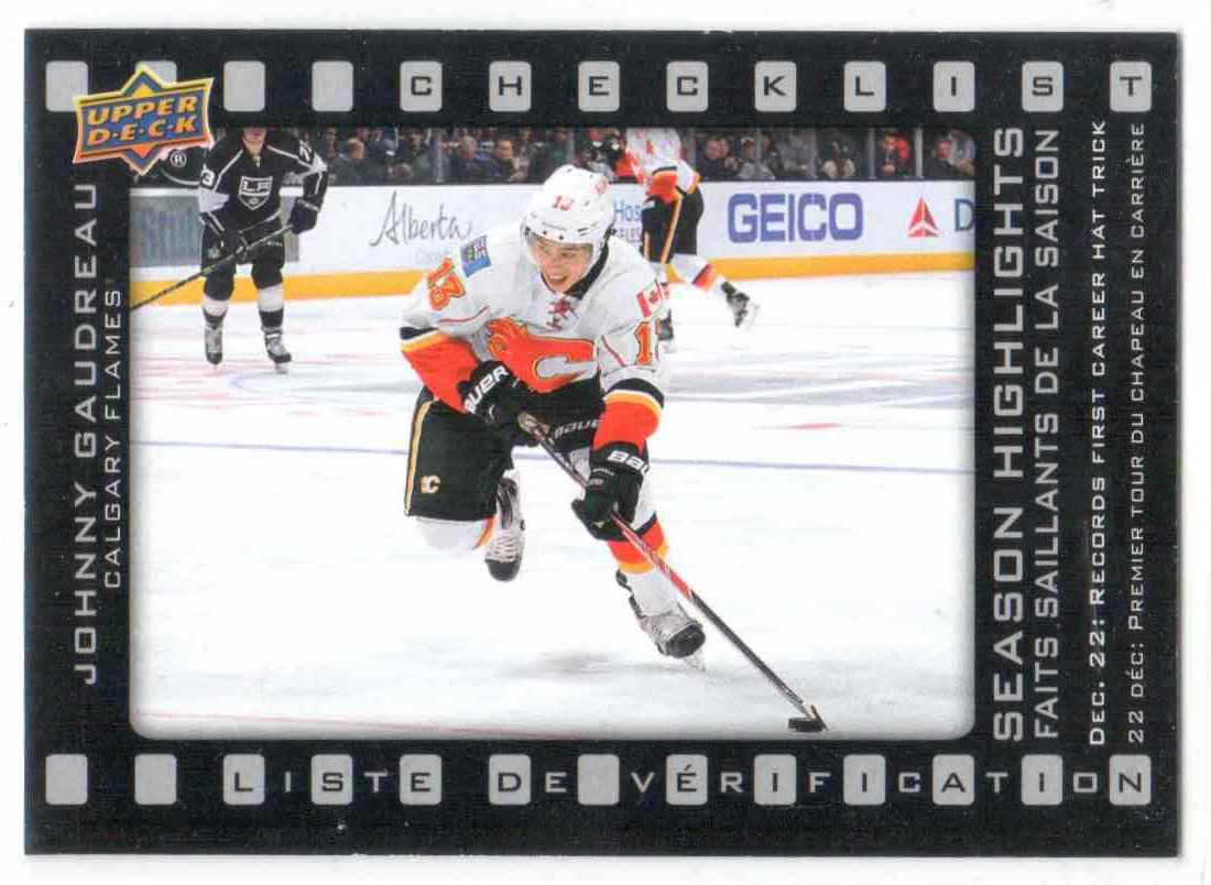 2015-16 Upper Deck Tim Horton Season Highlights Johnny Gaudreau #SH-1 card front image