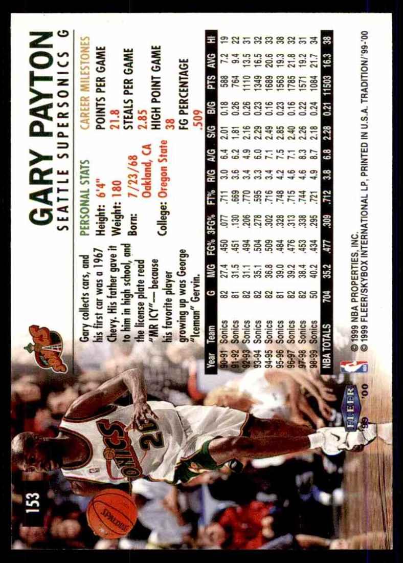 1999-00 Fleer Gary Payton #153 card back image