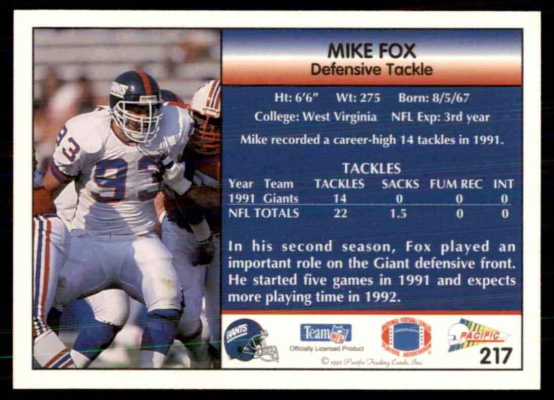 1992 pacific football mike fox 217 on kronozio