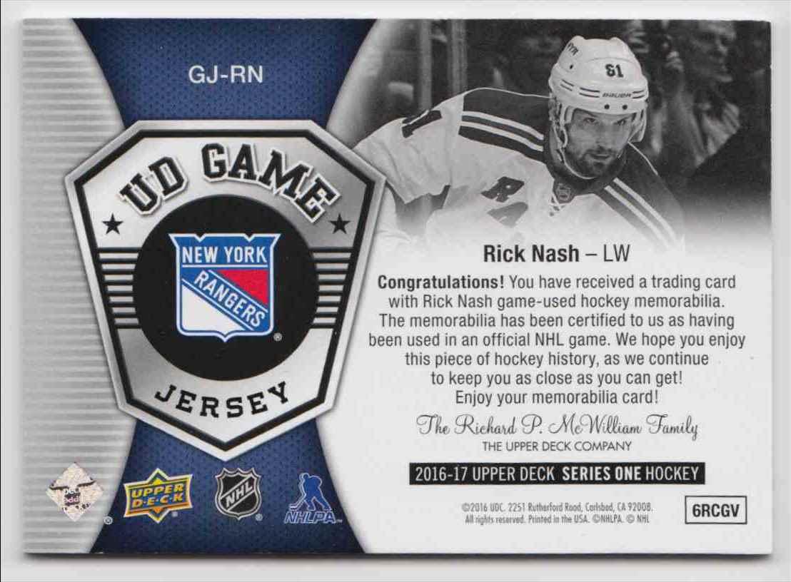 2016-17 Upper Deck Game Jerseys Rick Nash #GJ-RN card back image