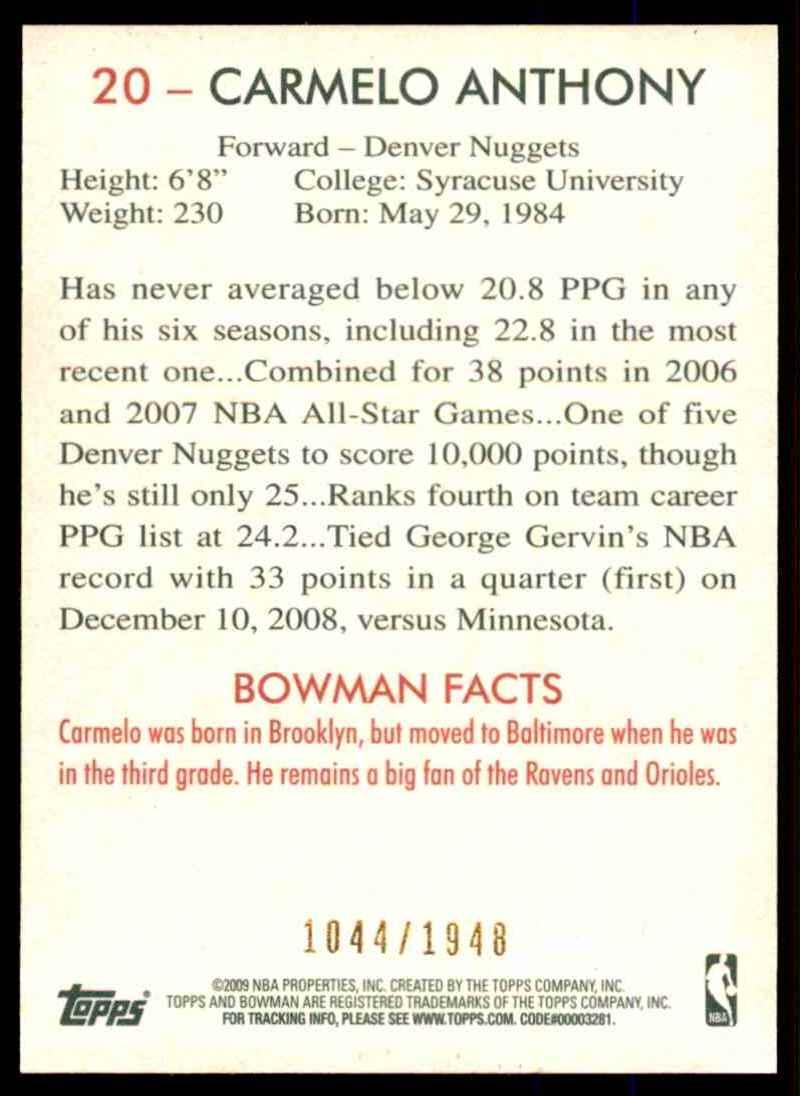 2009-10 Bowman 48 Blue Carmelo Anthony #20 card back image