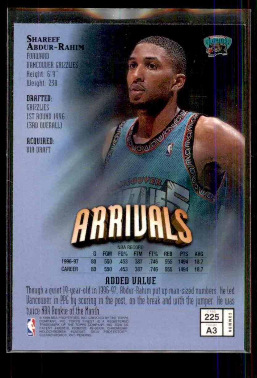 1997-98 Finest Shareef Abdur-Rahim B #225 card back image