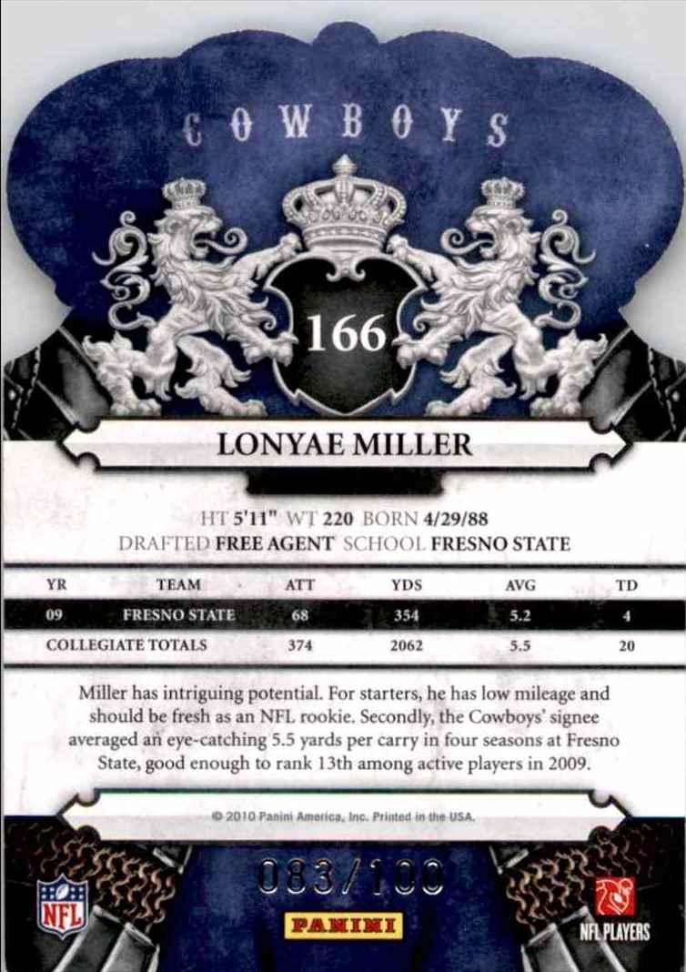 2010 Crown Royale Blue Lonyae Miller #166 card back image