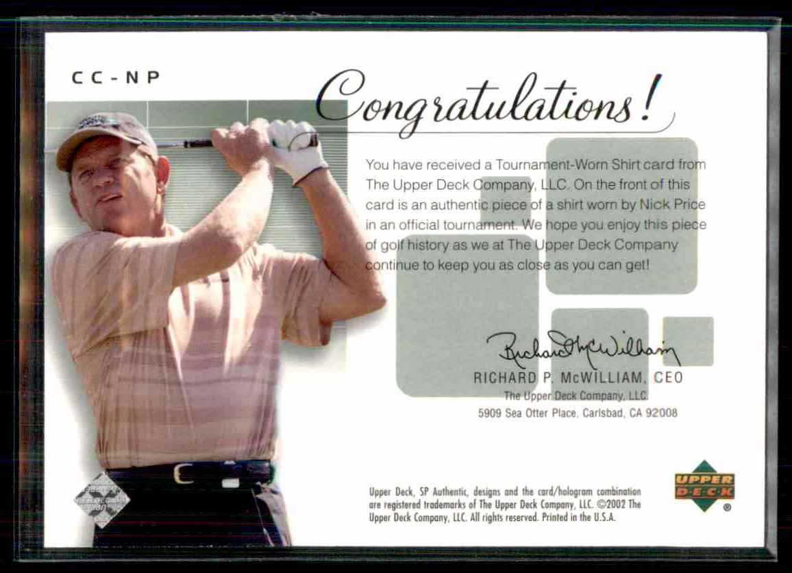 2002 SP Authentic Course Classics Game-Used Shirt Cards Nick Price #CCNP card back image