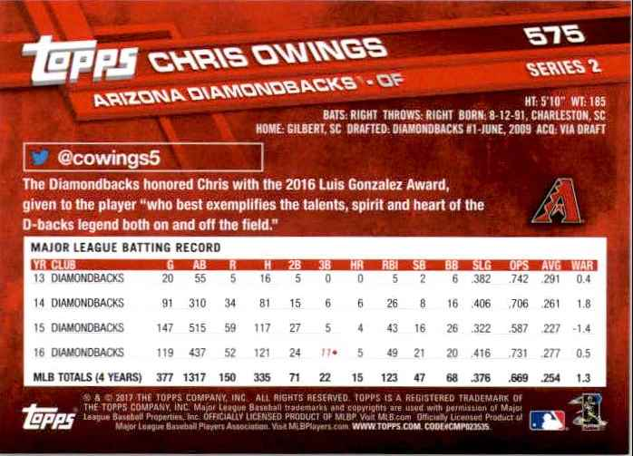 2017 Topps Series 2 Chris Owings #575 card back image