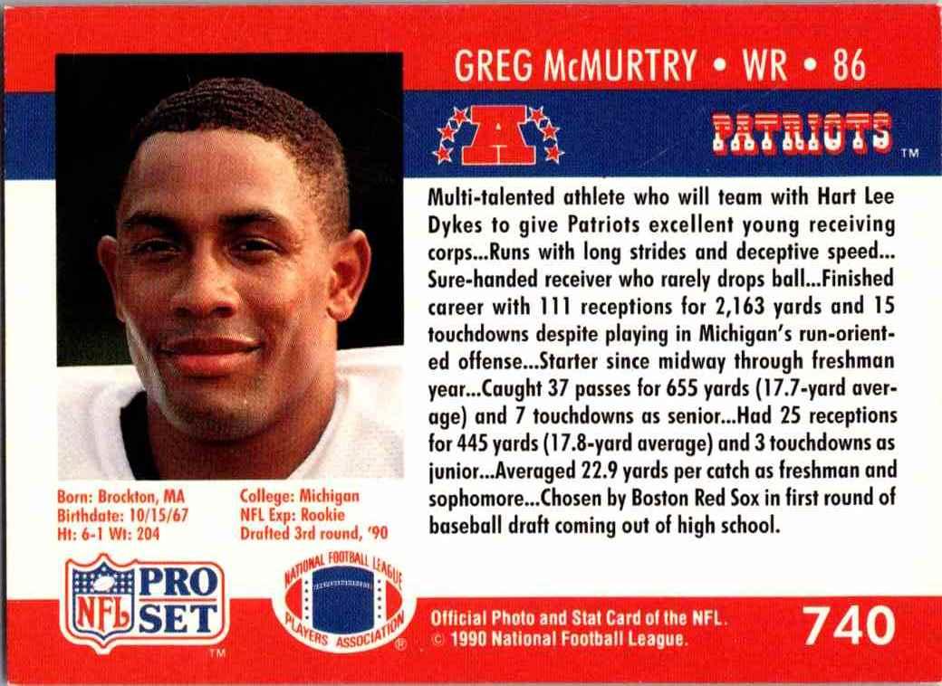 1990 ProSet Greg McMurtey - Hand Signed #740 card back image