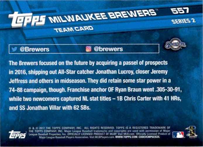 2017 Topps Series 2 Milwaukee Brewers TC #557 card back image