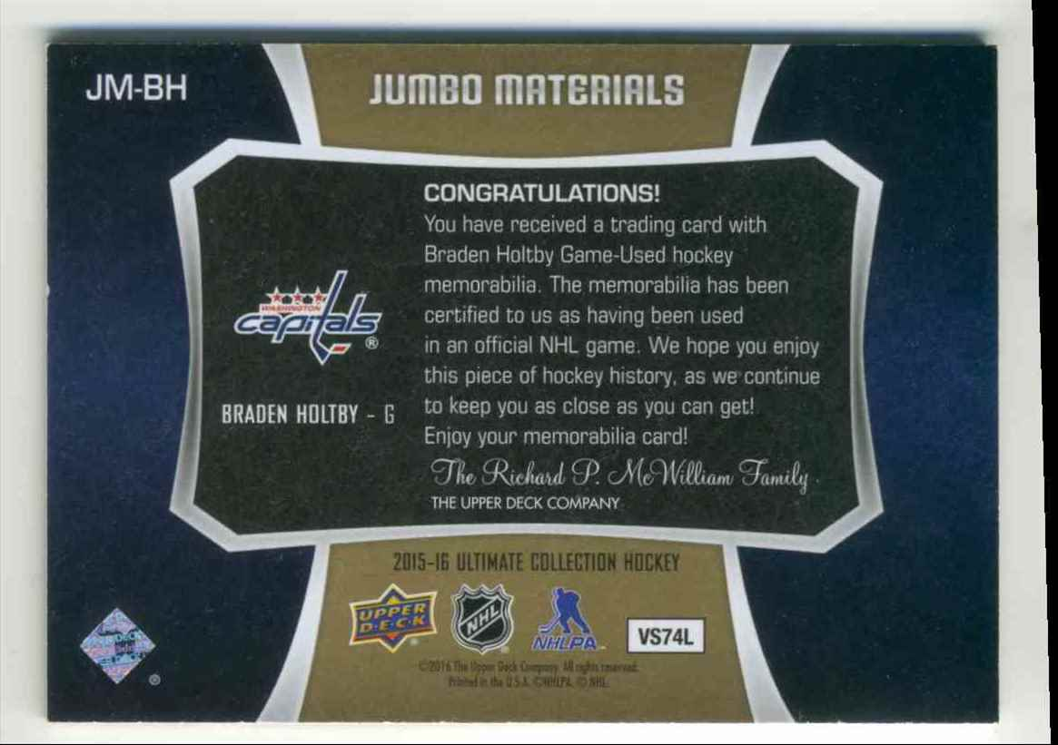 2015-16 Upper Deck Ultimate Collection Jumbo Materials Braden Holtby #JM-BH card back image