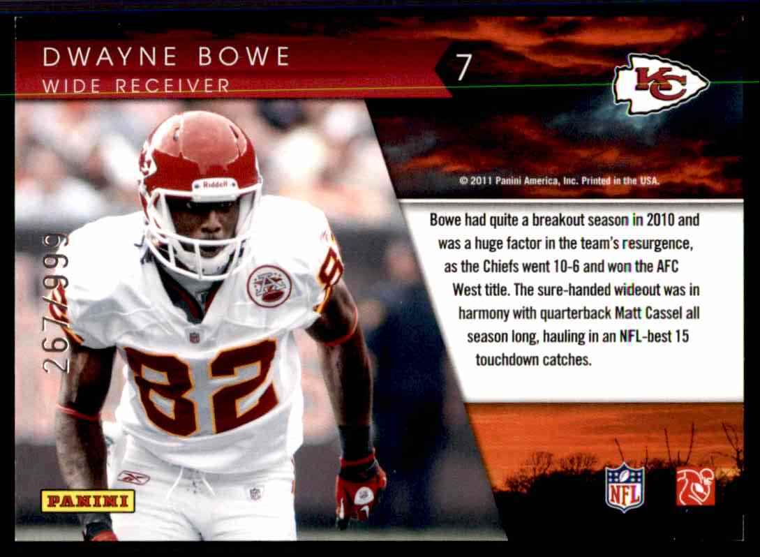 2011 Donruss Elite Legends Of The Fall Gold Dwayne Bowe #7 card back image