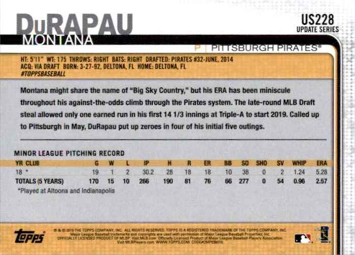 2019 Topps Update Montana Durapau #US228 card back image