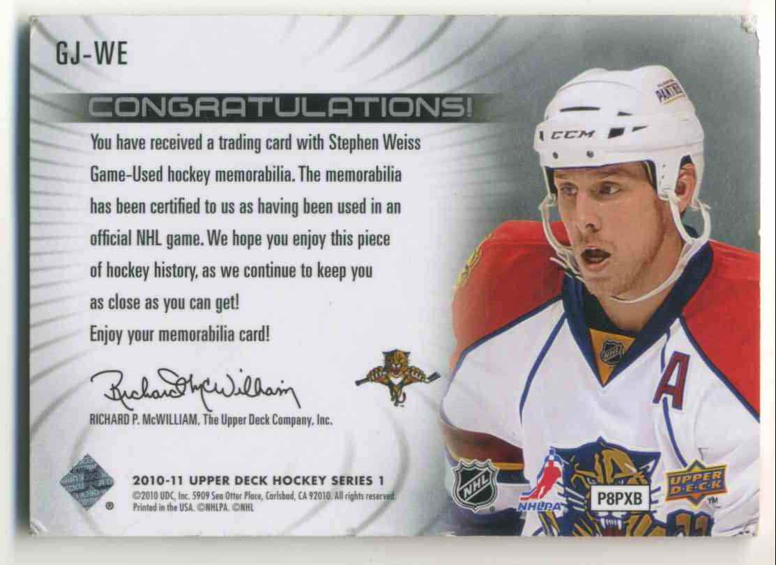 2009-10 Upper Deck Game Jersey Stephan Weiss #GJ-WE card back image