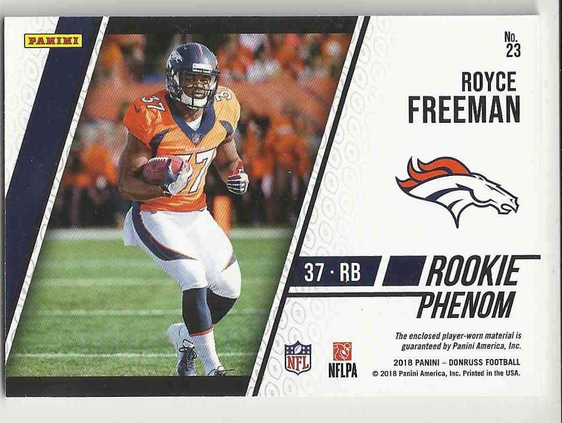 2018 Donruss Rookie Phenom Jerseys Royce Freeman #23 card back image