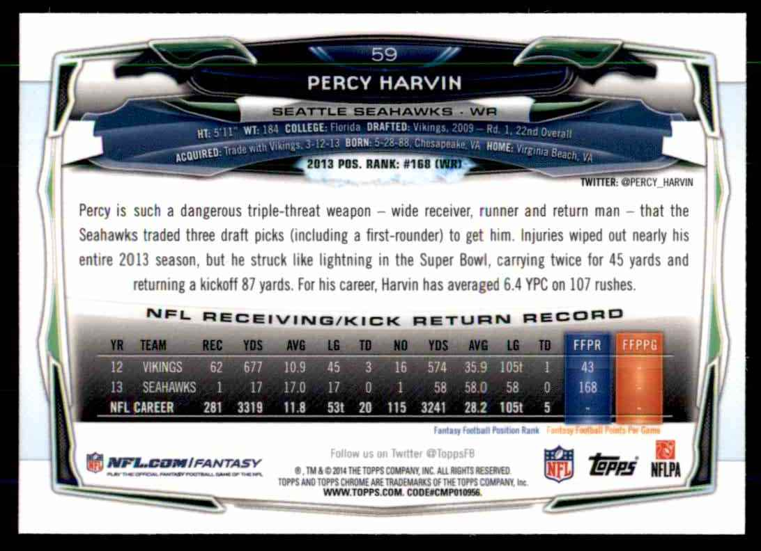 2014 Topps Chrome Refractors Percy Harvin #59 card back image