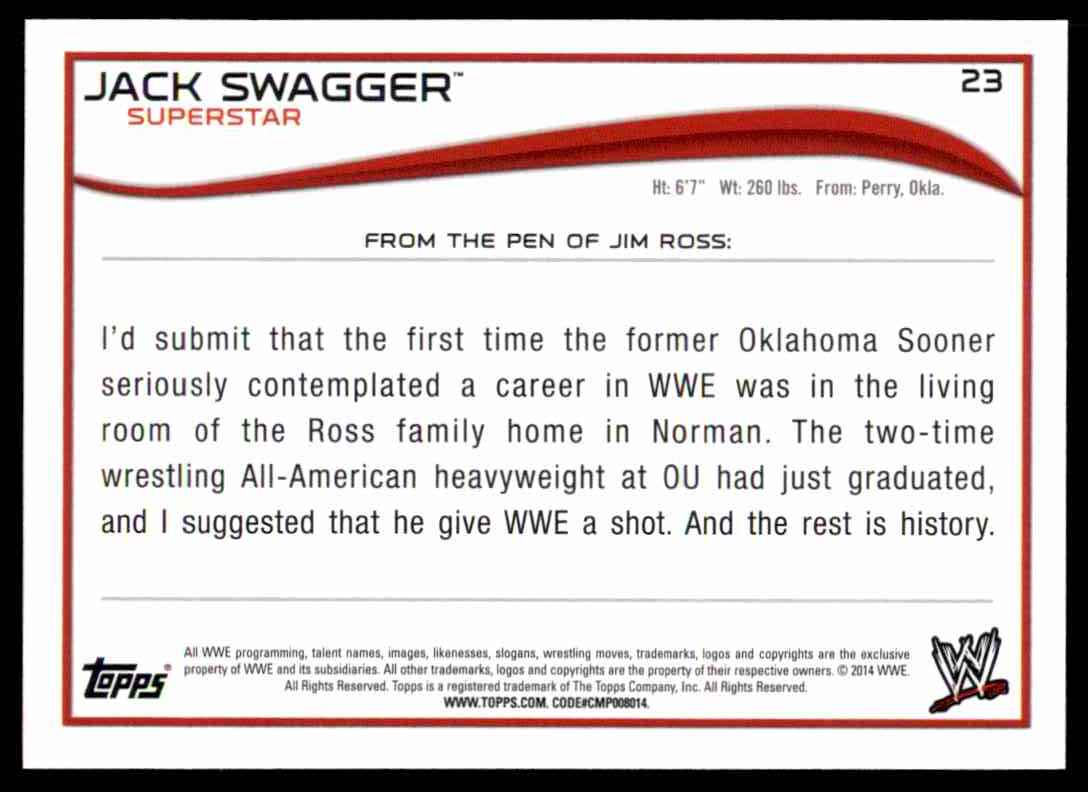 2014 Topps Wwe Jack Swagger #23 card back image