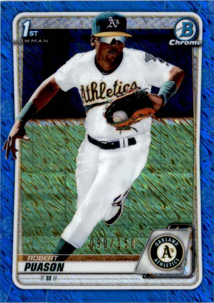 2020 Bowman Chrome Prospects Blue Shimmer Refractor Robert Puason #BCP-145 card front image