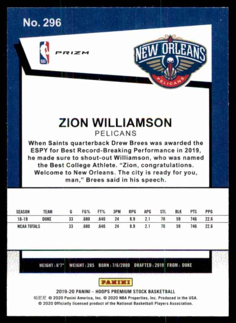 2019-20 Hoops Premium Stock Prizms Purple Disco Zion Williamson #296 card back image