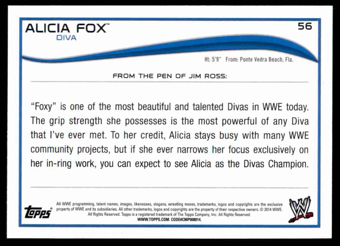 2014 Topps Wwe Alicia Fox #56 card back image