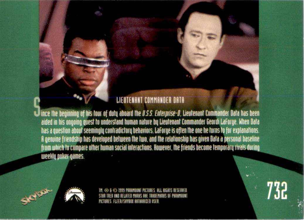 1994 Star Trek The Next Generation Episode Collection Lieutenant Commander Geordi LaForge #732 card back image