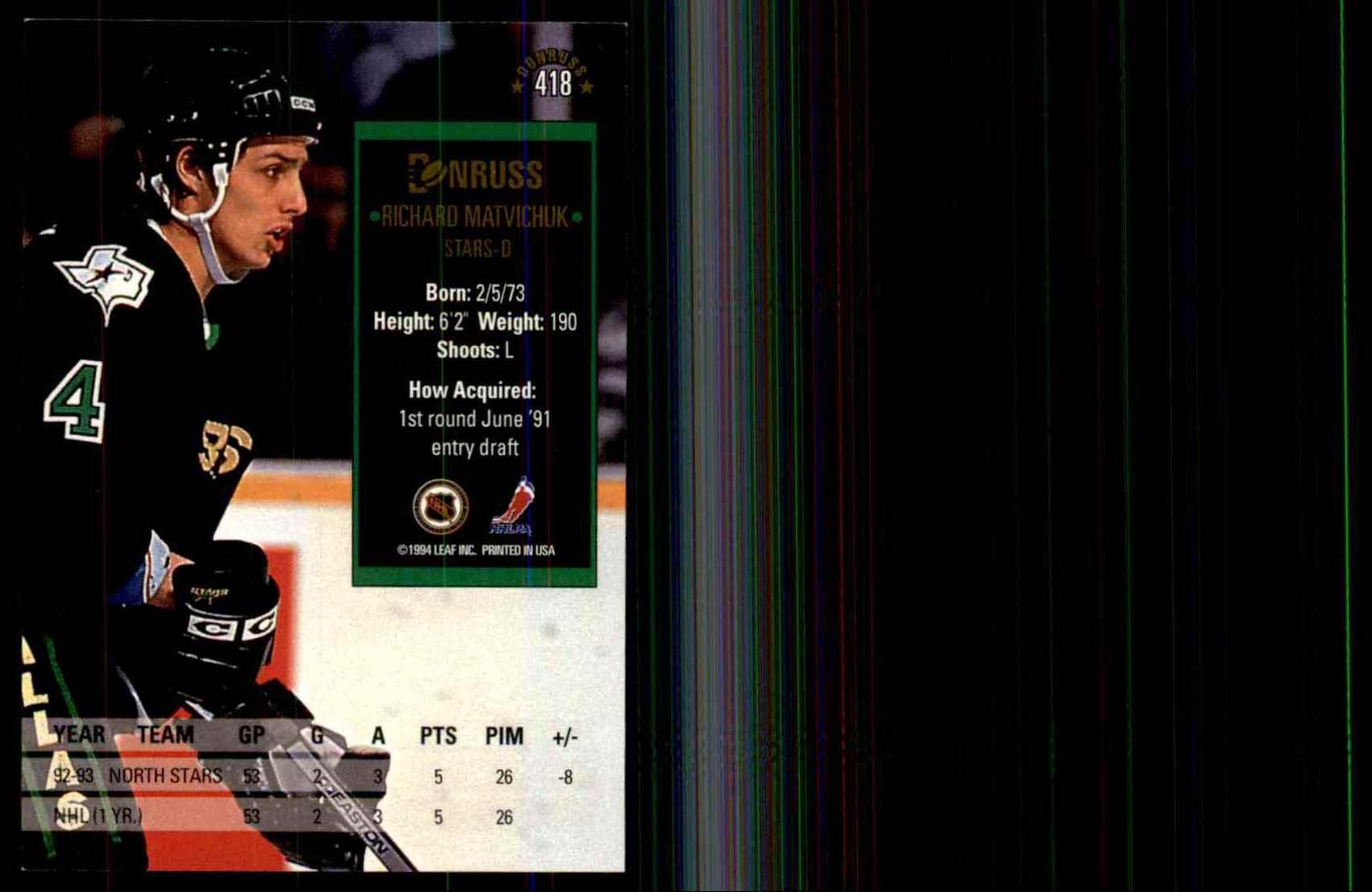 1993-94 Donruss Richard Matvichuk #418 card back image
