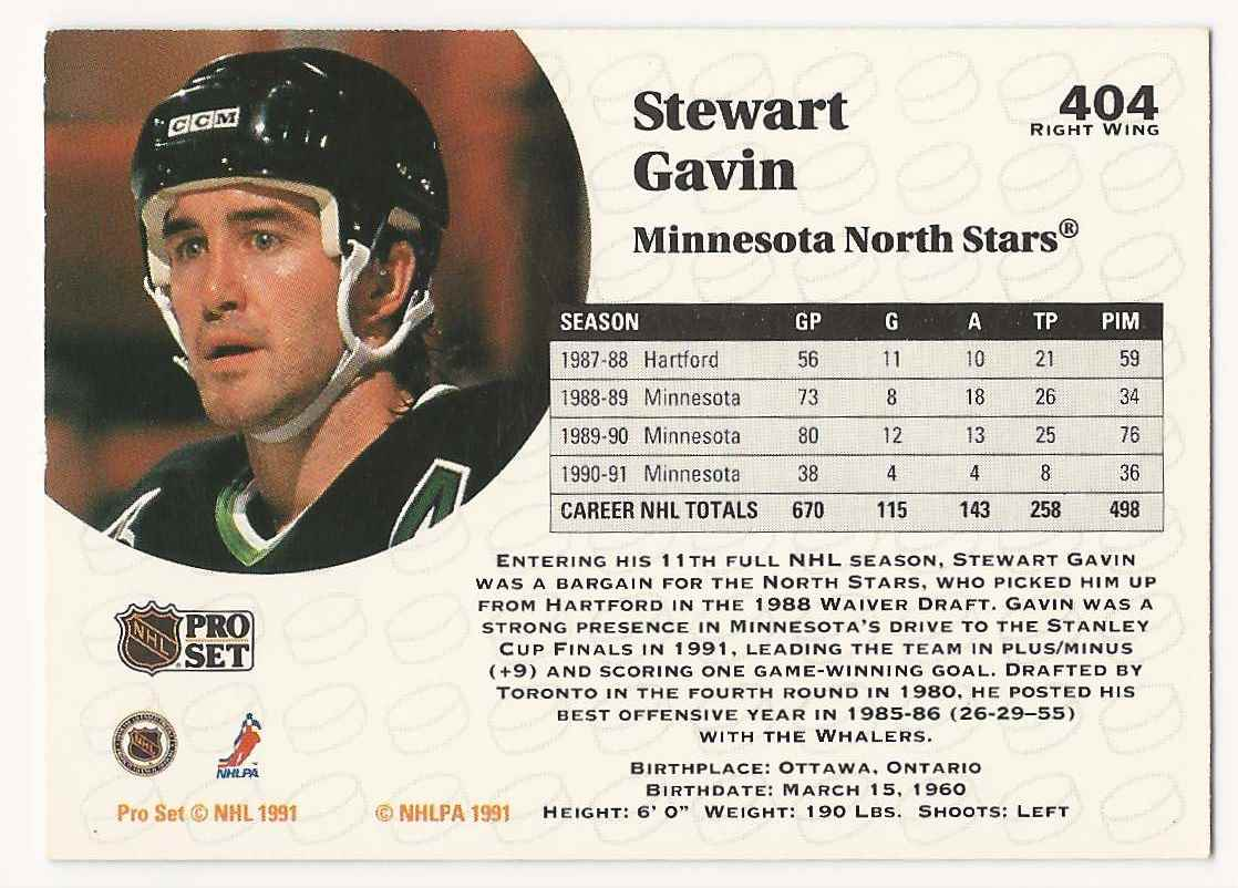 1991-92 Pro Set Stewart Gavin #404 card back image