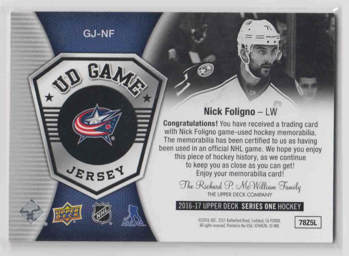 2016-17 Upper Deck Game Jerseys Nick Foligno #GJ-NF card back image