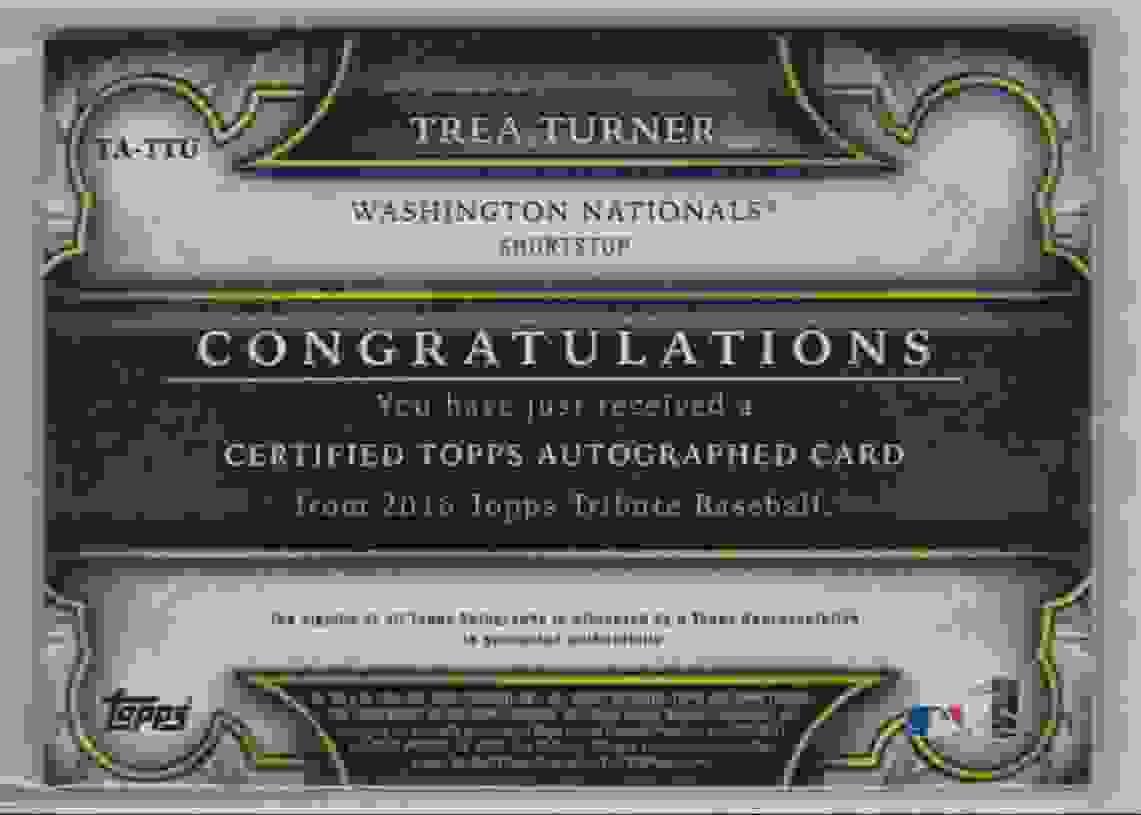 2016 Topps Tribute Tribute Autograph Green Trea Turner #TA-TTU card back image