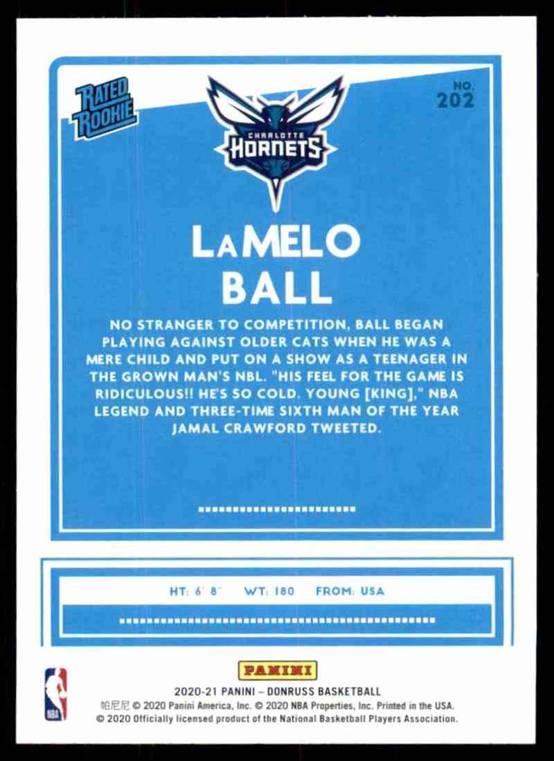2020-21 Donruss LaMelo Ball Rr RC #202 card back image