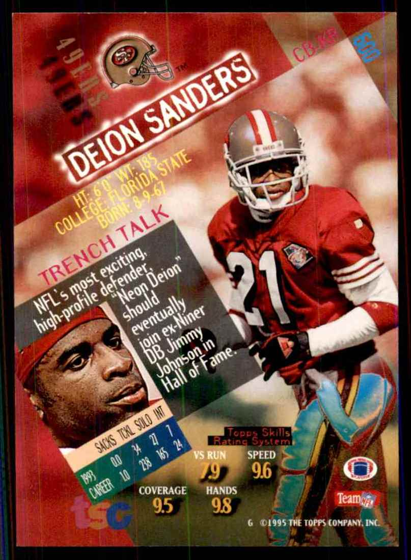 1994-95 Stadium Club Deion Sanders #600 card back image