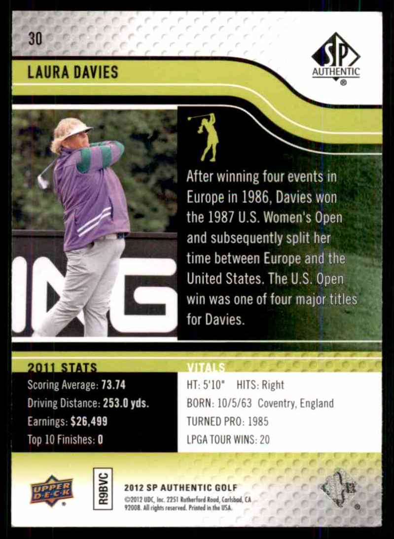2012 SP Authentic Laura Davies #30 card back image