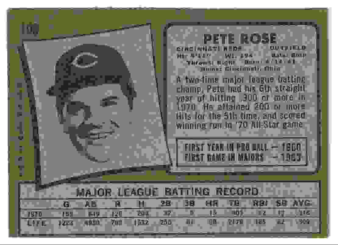 1971 Topps Pete Rose EX+ #100 card back image