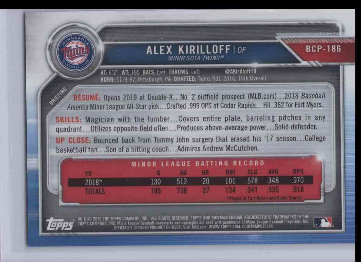 2019 Bowman Chrome Alex Kirilloff #BCP-186 card back image