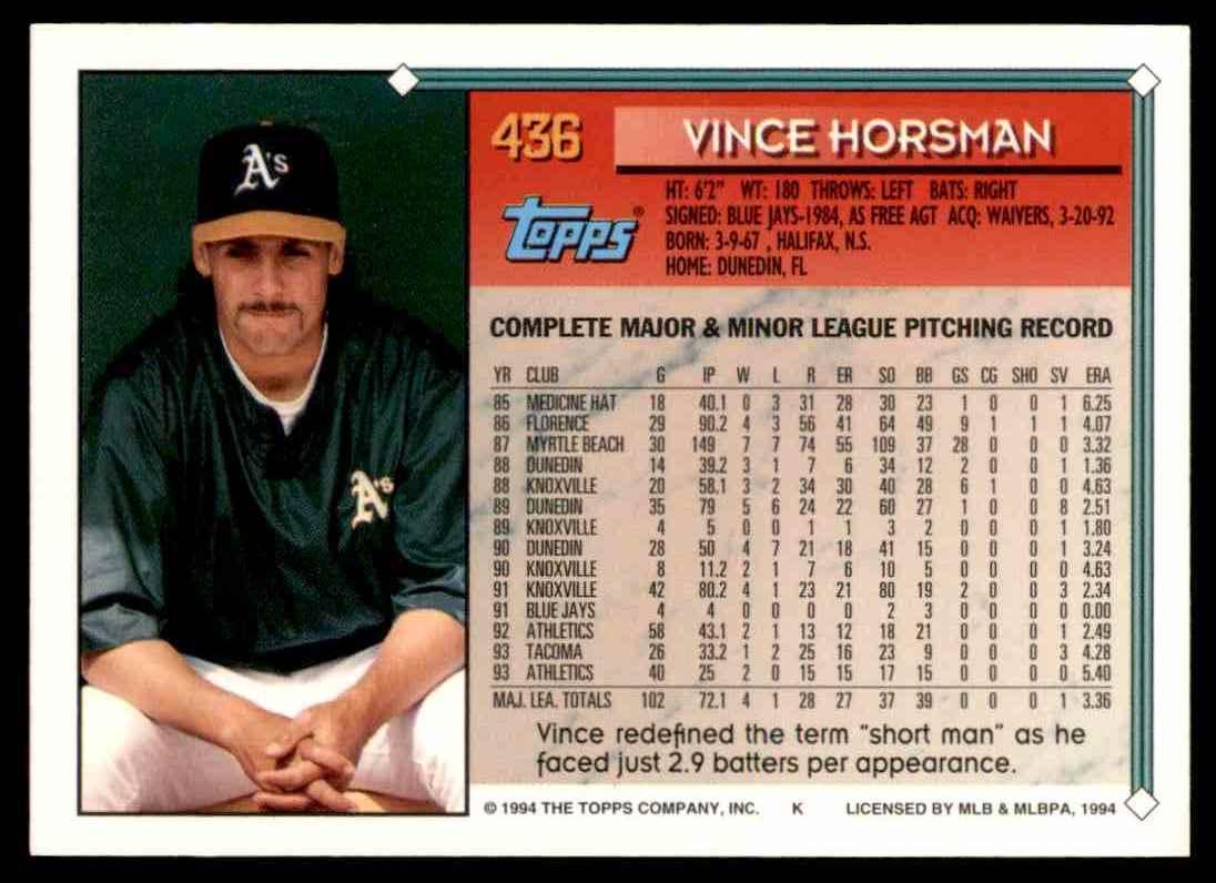 1994 Topps Gold Vince Horsman #436 card back image