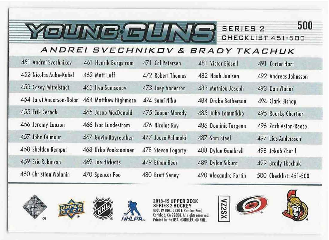 2018-19 Upper Deck Andrei Svechnikov Brady Tkachuk #500 card back image