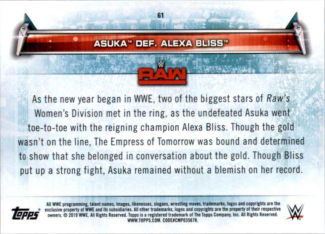 2019 Topps Wwe Women's Division Asuka Def. Alexa Bliss #61 card back image