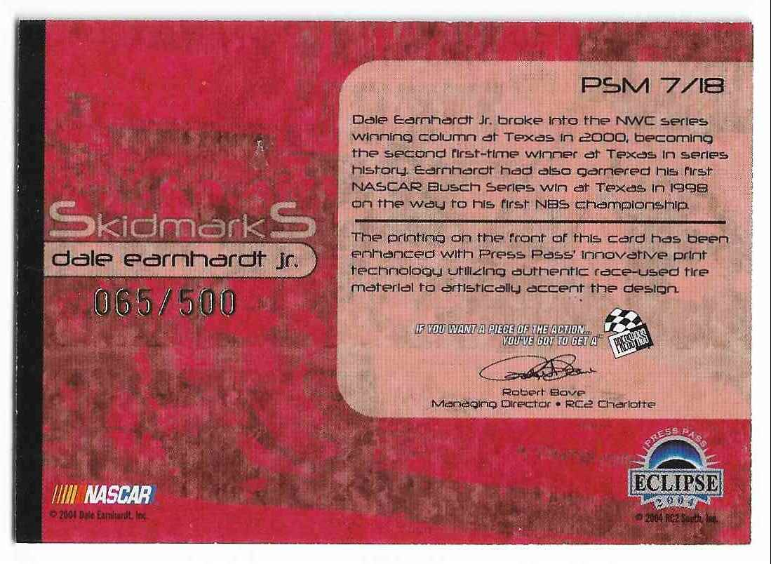 2004 Press Pass Eclipse Skidmarks Dale Earnhardt JR. #PSM 7/18 card back image