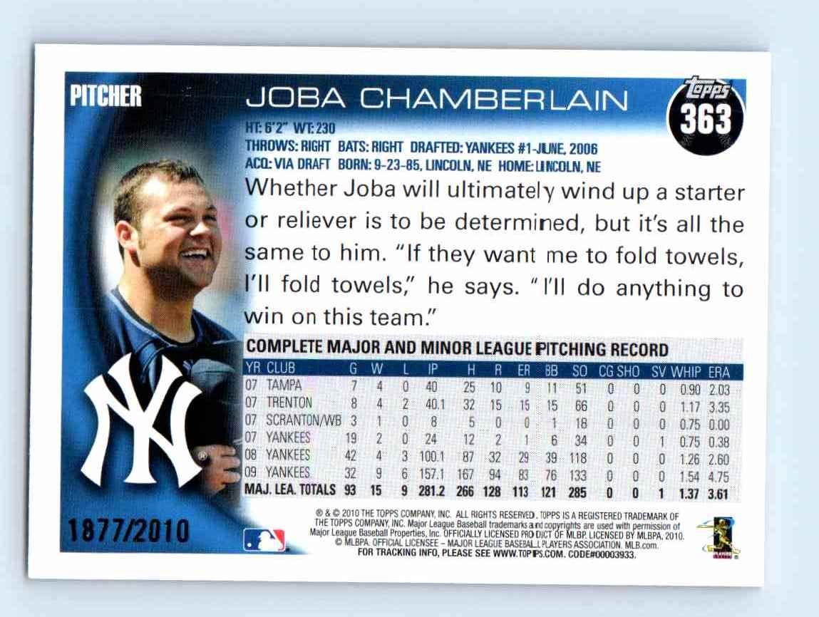 2010 Topps Gold Border Joba Chamberlain #363 card back image