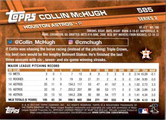 2017 Topps Series 2 Collin McHugh #585 card back image