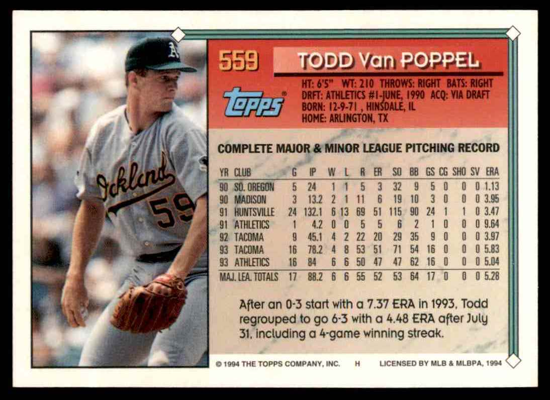 1994 Topps Gold Todd Van Poppel #559 card back image