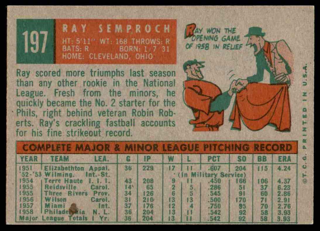 1959 Topps Ray Semproch #197 card back image