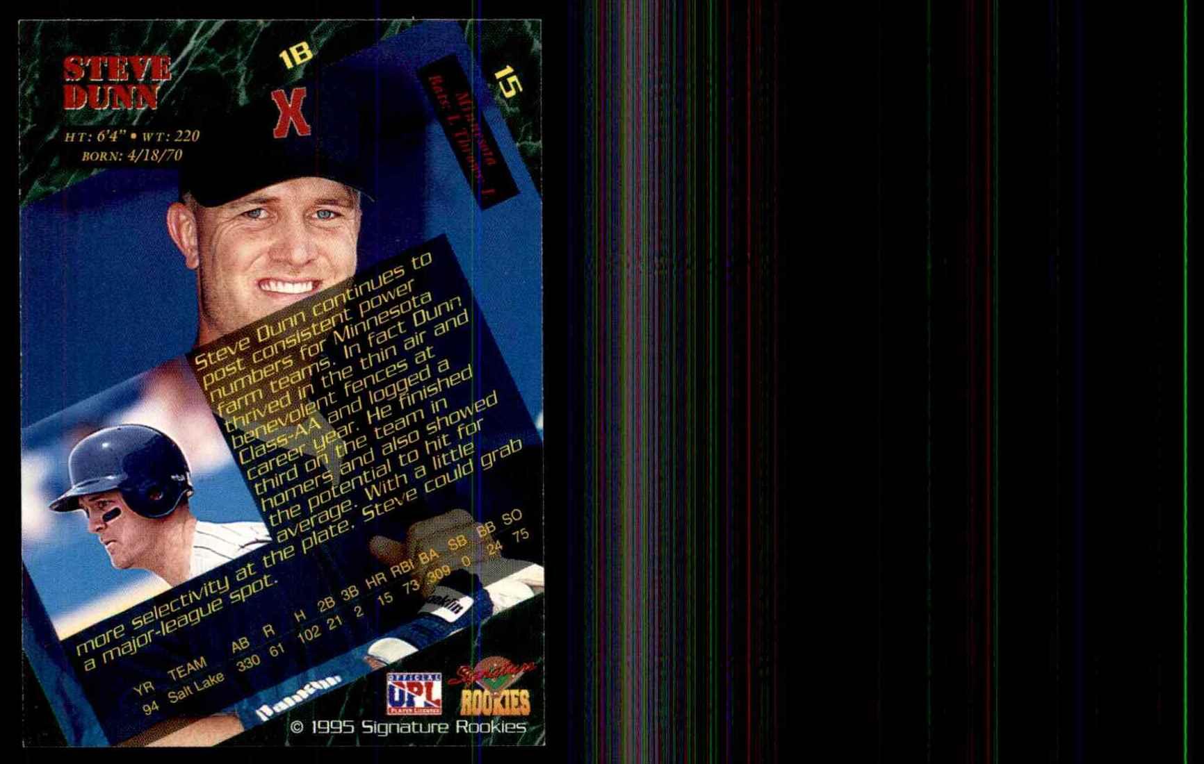 1995 Signature Rookies Steve Dunn #15 card back image