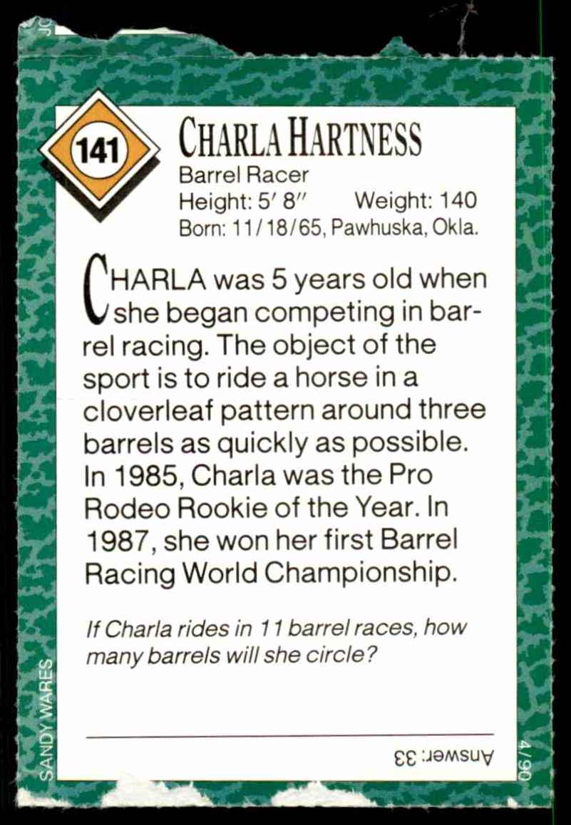 1990-91 Sports Illustrated For Kids Charla Hartness/Barrel Racing #141 card back image
