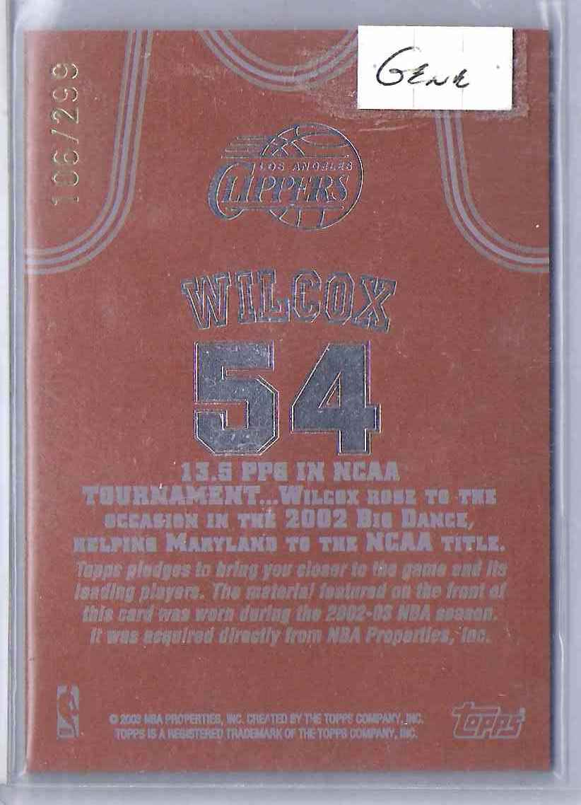 2002-03 Topps Jersey Edition Copper Chris Wilcox #JECW card back image