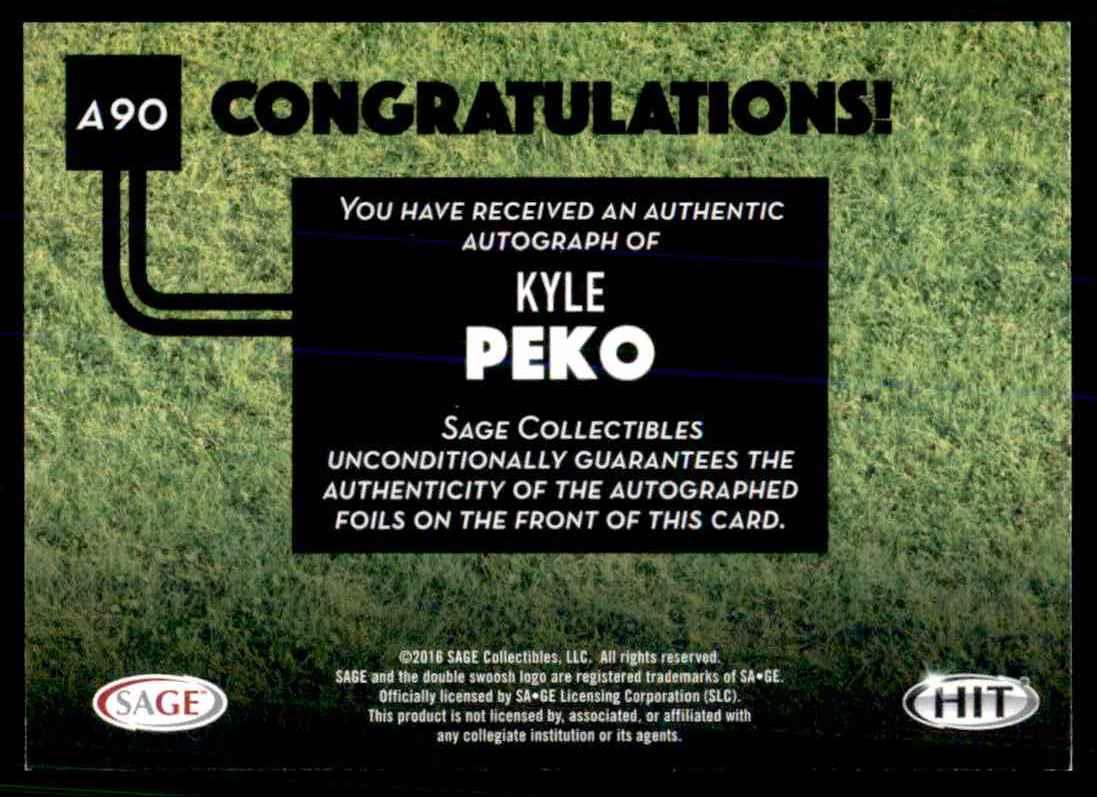 2016 Sage Hit Kyle Peko card back image