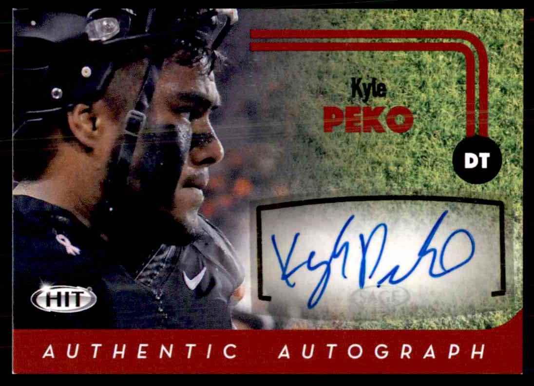 2016 Sage Hit Kyle Peko card front image