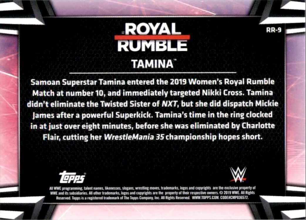 2019 Topps Wwe Women's Division Women's Royal Rumble Tamina #RR9 card back image