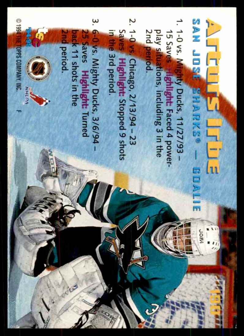 1994-95 Stadium Club Arturs Irbe So #190 card back image
