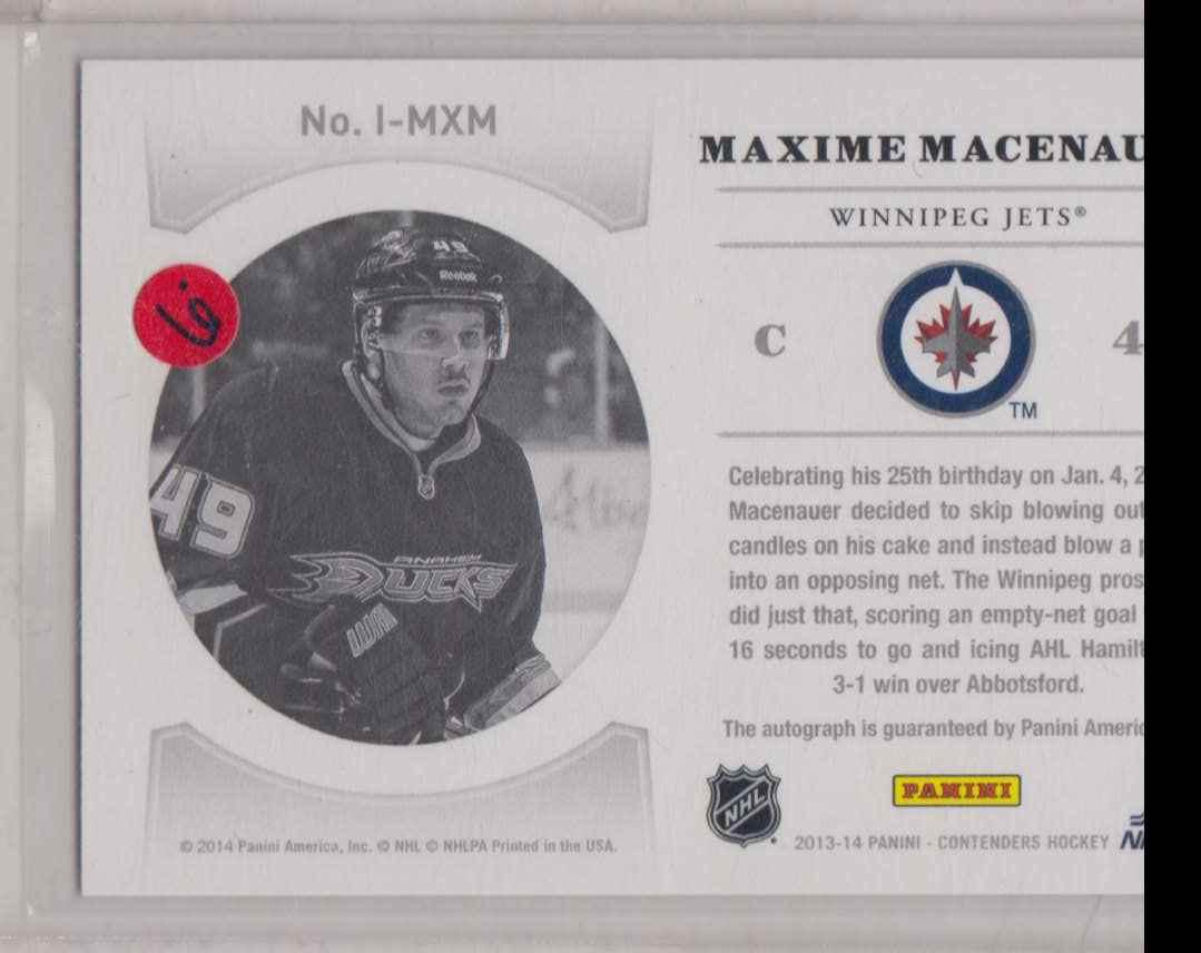 2013-14 Panini Contenders NHL Ink Maxime Macenauer #I-MXM card back image